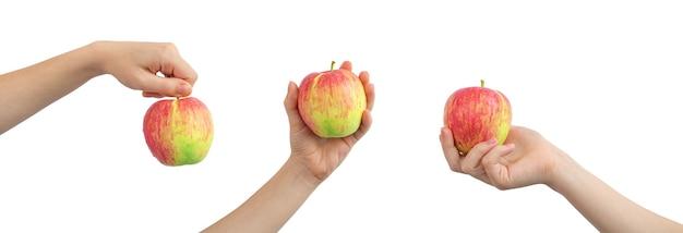 Коллаж красное яблоко в руке, изолированные на белом фоне, баннер фото