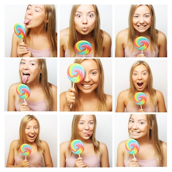 Collage of the same woman making different expressions