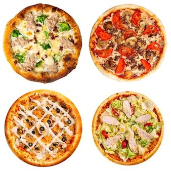 Коллаж из четырех разных пицц для меню изолированы
