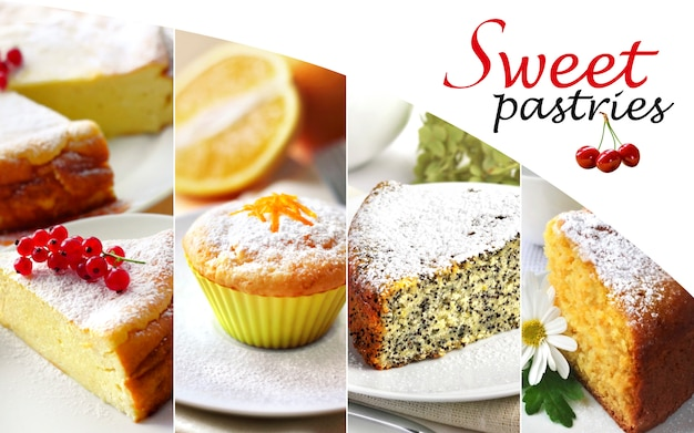 Collage of sweet pastry