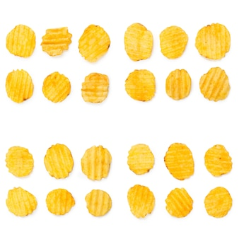 Collage of tasty potato chips