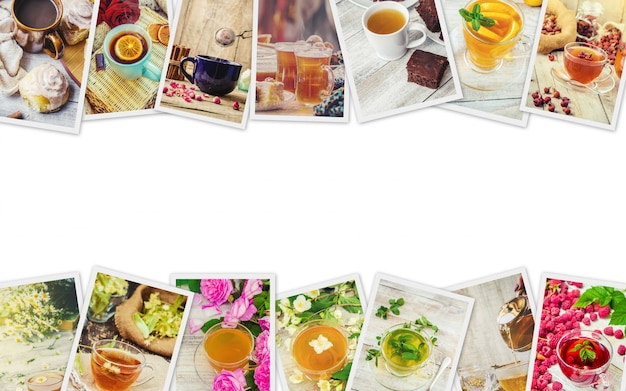 Collage of tea. selective focus. food and drink.