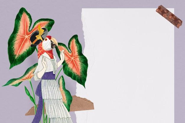 Collage carta da parati vintage cornice estetica sfondo, collage animale mixed media art