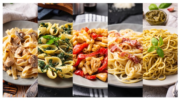 Collage with different pasta dish.