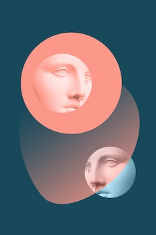 Collage with plaster antique sculpture of human face contemporary art poster funky punk minimalism