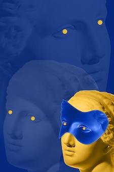 人間の顔の石膏アンティーク彫刻とコラージュ現代アートポスターファンキーなパンクミニマリズム