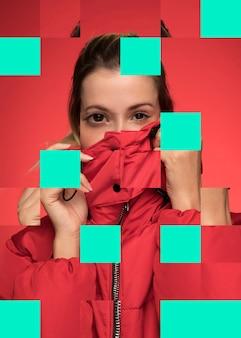 赤を着ている女性とコラージュします。