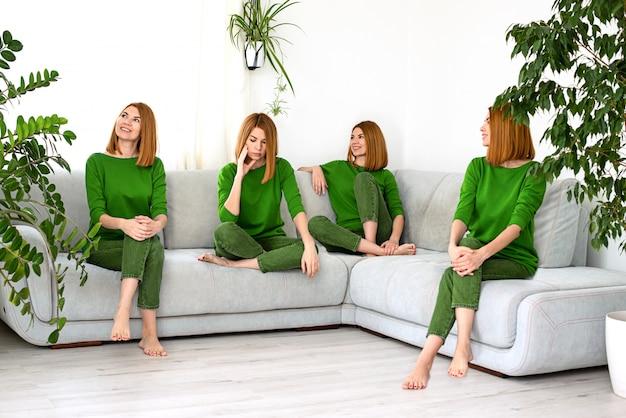 Коллаж молодая красивая рыжая девушка в зеленой одежде дома с комнатными растениями в другом настроении и разнообразных эмоций.