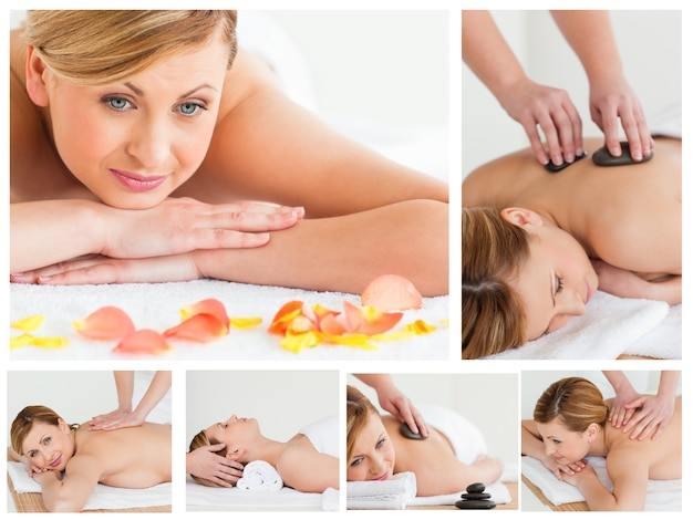 Collage of young woman having a stone massage