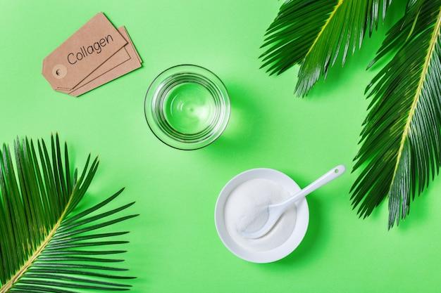 녹색 야자수 잎이 있는 트렌디한 민트 배경에 콜라겐 가루. 자연의 아름다움과 건강 보조 식품, 웰빙 스킨케어 노화 방지 개념. 평면도, 평면도, 복사 공간