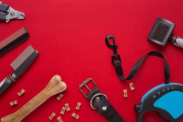Ошейник, миска с кормом, поводок, лакомство, расчески и щетки для собак. изолированные на красном фоне. вид сверху. натюрморт. копировать пространство