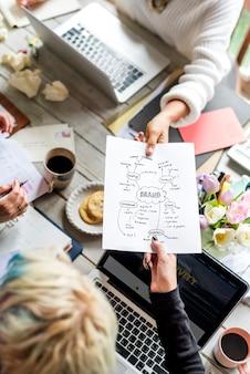 Коллеги, передающие стратегию плана брендинга другим