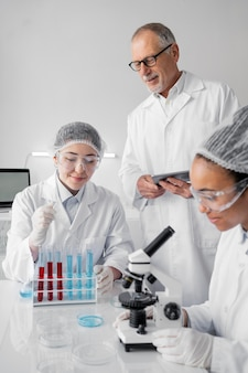 Colleagues in laboratory doing experiments