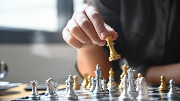 Colleagues playing chess
