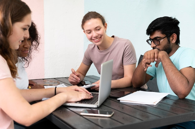 Colleagues studying together for an exam