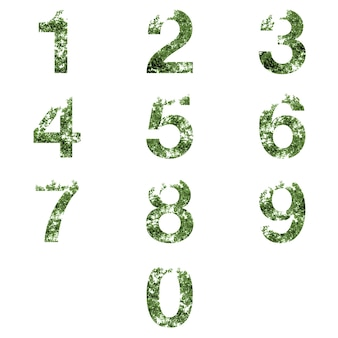 Collection of 0-9 number letter double exposure with ark green leaves isolated on white