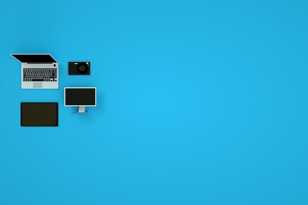 コレクション、青い背景の3dガジェットのセット。コンピューター、ラップトップ、タブレット、スマートフォン。ガジェットのアイソメモデル。コンピューターグラフィックス