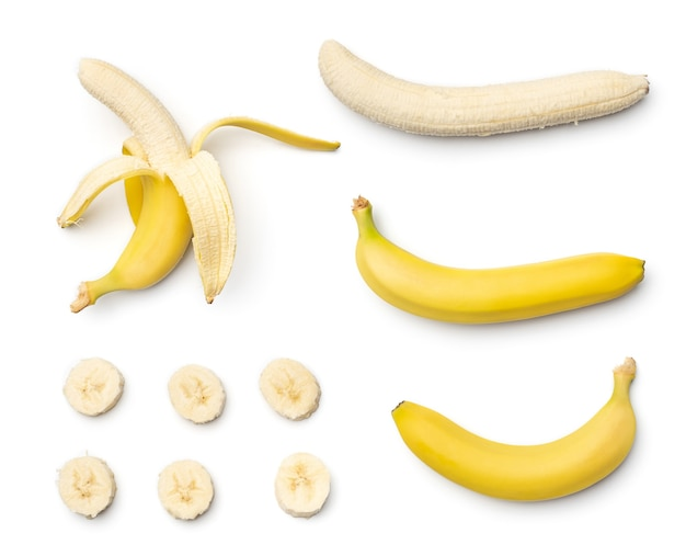 Collection of bananas isolated on white background. set of multiple images. part of series