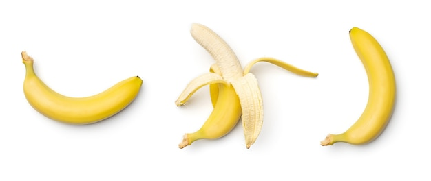 Collection of bananas isolated on white background