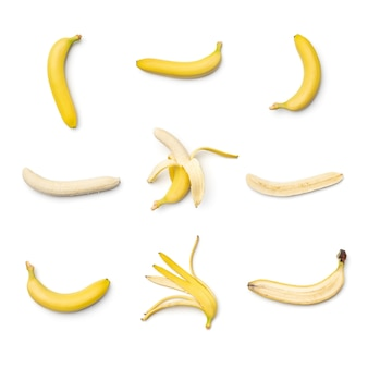 Collection of bananas isolated on white