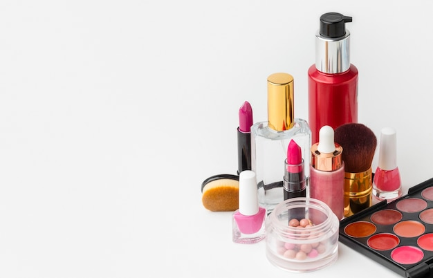 Collection of beauty products with copy space