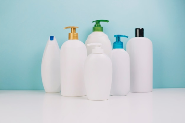 Collection of blank cosmetics bottles