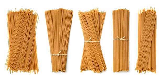 Collection of buckwheat pasta isolated on white