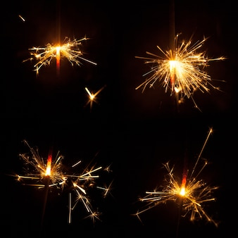 Collection of burning sparklers