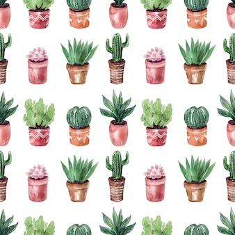 Collection of cacti in potsseamless pattern