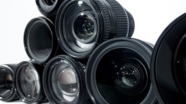 Collection of camera lens isolated on white background.