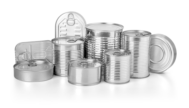 Collection of cans isolated on white