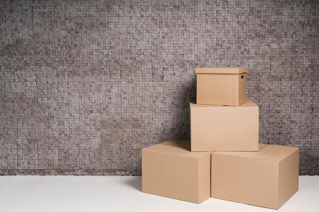 Collection of cardboard boxes with copy space