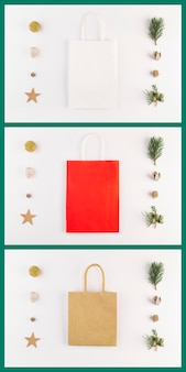 Collection of cards with colourful shopping packets and decorations