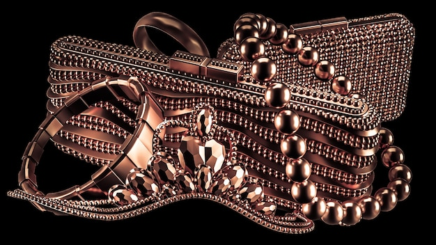 The collection of characters of a life of luxury, jewelry and fashion female accessories