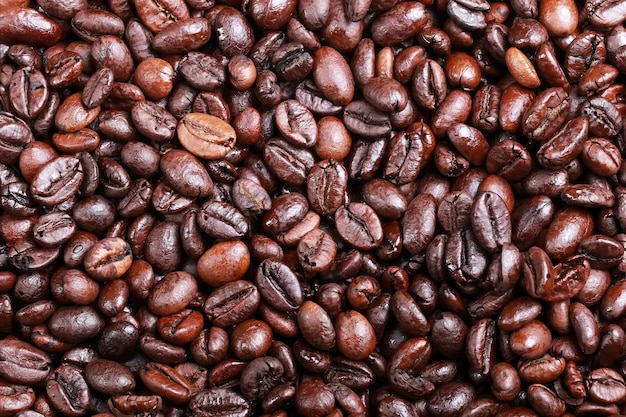 A collection of coffee beans that have been cooked