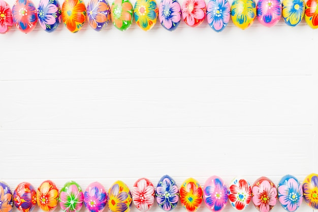 Collection of colored eggs on edges