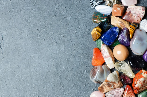 Collection of colored minerals. the texture of the stone. copy space