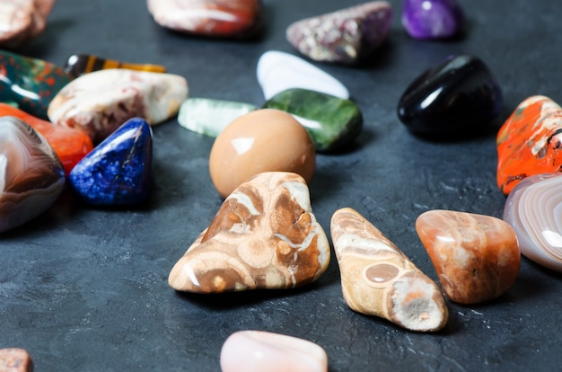Collection of colored minerals. the texture of the stone