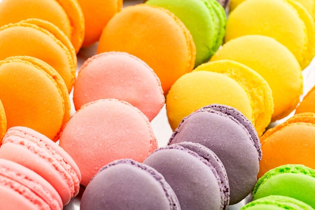 Collection of colorful french macarons