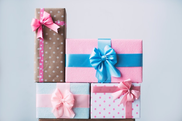 Collection of colorful gifts boxes