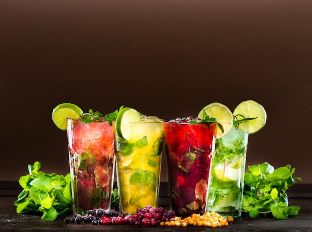 Collection of colorful tropical cocktails