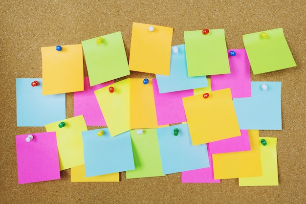Collection of colorful variety post it. paper note reminder sticky notes pin paper blue