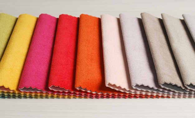 Collection of colorful velour textile samples