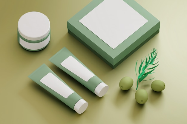 Collection of cosmetic packaging with blank labels and green olives