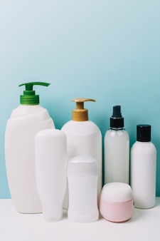 Collection of cosmetics bottles and jars