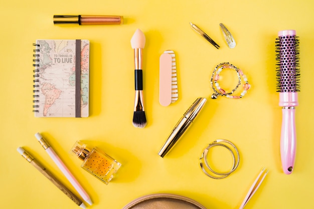 Collection of cosmetics and hairdressing supplies