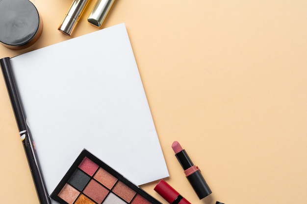Collection of cosmetics for make up artist. close up
