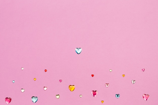 Collection of decorative heart rhinestones