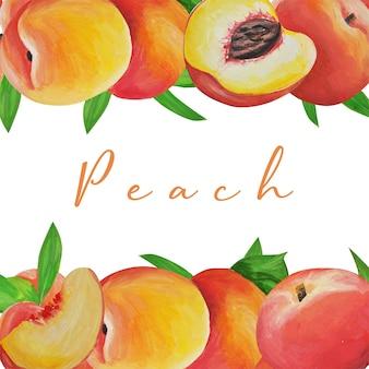コレクション。繊細な桃。フルーツセット。フレーム。手描き。リアルなスタイルで水彩で描かれ、分離された繊細な果物。