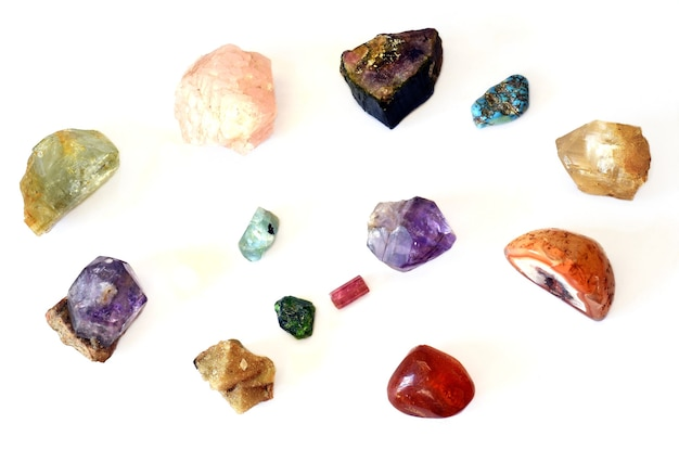 Collection of different colorful minerals found in russia